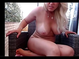 Hot blonde milf outdoor masturbation
