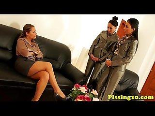 Lesbian pee fetish trio eating pussy