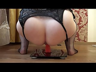 Mature bbw masturbates with a rubber dick in a cowgirl pose comma appetizing booty shaking period
