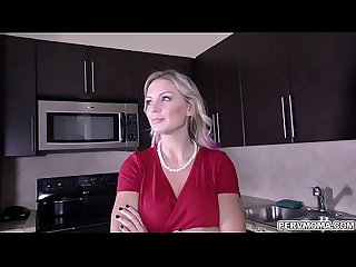 Blonde shoplifter Milf kenzie taylor got caught and blackmailed by stepson and performs a handsfree