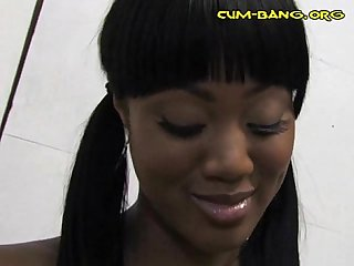 Sexy Black Babe Sucks White Rod