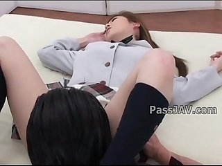 Lovely Japanese angel Aya Sakaki in schoolgirl uniform has her pussy inspected.