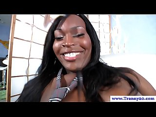 Black shemale has solo fun until she cums