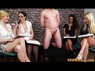 Cfnm femdoms humiliating Ballgagged dude
