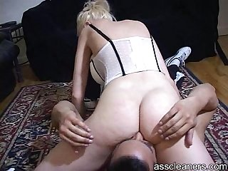 Mistress moans as ass cleaners licks her ass hole