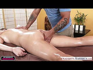 Oiled cutie Alex Chance fucking her masseur