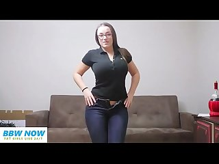 Chubby Teen PAWG in Jeans with Big Tits and Glasses
