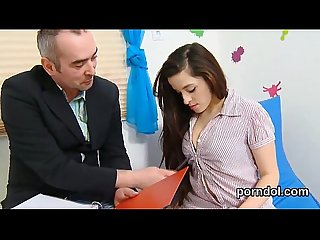 Kissable college girl is tempted and fucked by her older teacher