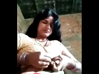 Indian village bhabi playing with her self