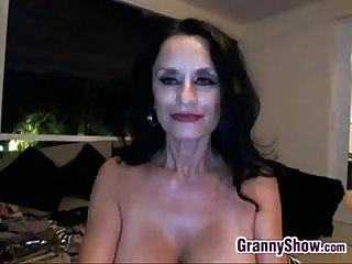 Nasty granny masturbating at home with toys