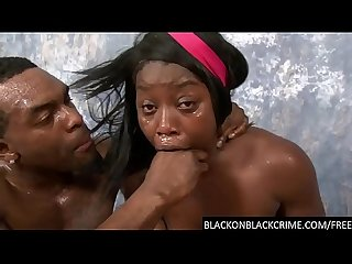 Sassy black cunt throat ruined by bbc
