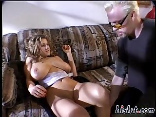 Giant natural tits bounce on a throbbing manhood