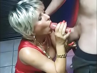 MATURE Makes Handjob and Blowjob at the Christmas Party
