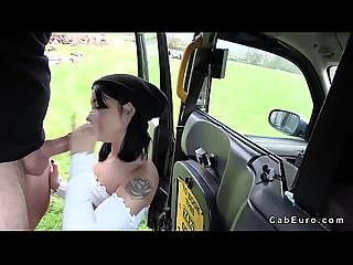 Black haired amateur fucks in fake taxi