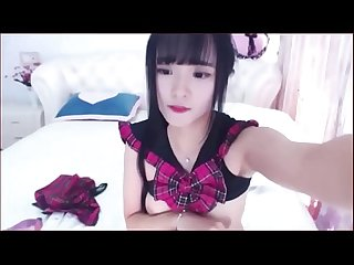Cute asian webcam girl strips and masturbates with dildo - full video @ tubeorient.com
