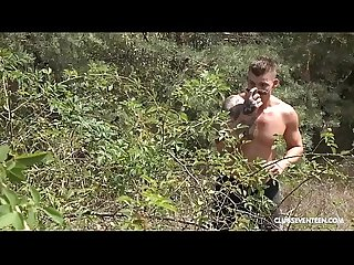 Skinny teen fucks stranger standing in the woods