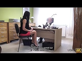 LOAN4K. Long-haired brunette Inga Devil comes to a small loan company