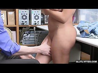 Latina babe gets her big tits squeezed as the lp officer pushes her over the table and romps her pus