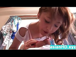 Amateur teen japanese creampied in her home