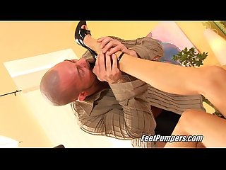 Sexy thin blonde footjob