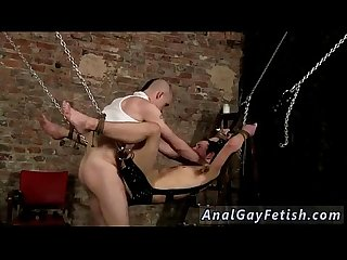 Young fetish gay first time hanging there tied to the sling he has no