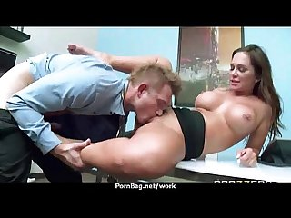 Busty babe fucking her boss in the office 11