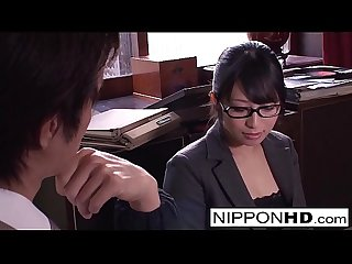 Japanese secretary blows her boss in the office