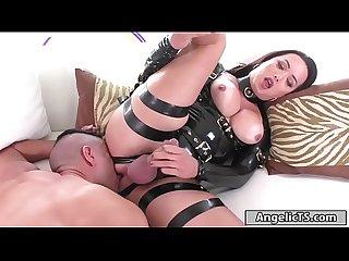 Busty dominant shemale Bianka Nascimento anal fucking a guy