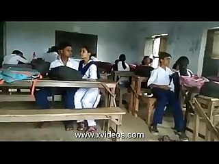 School girls and boys public kissing in the classroom