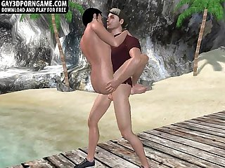 Horny 3D cartoon hunk getting fucked on the beach