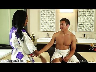 Nurunetwork hot ebony makes guy cum during massage