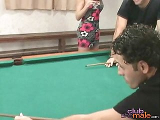 Shemale fucks stud on pool table