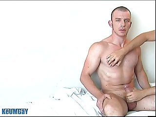 Keryan: a sexy hunk french guy get wanked his huge cock by a guy !