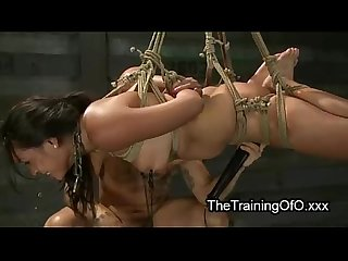 Tied up suspended babe pussy fucked and vibrated