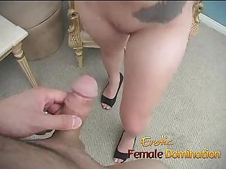 Loser gets his balls kicked by a hot dominant brunette 6