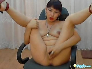 Exotic asian plays with toys