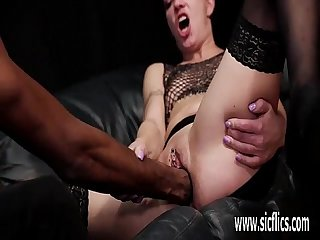 Brutally fist fucked by her ebony BF till she squirts