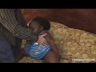 Horny black midget chick is getting fucked hard
