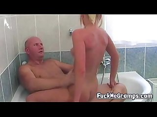 Grandpa fucks blonde hottie in bath