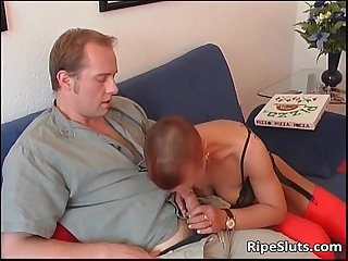 Short haired mature slut gets mouth tits
