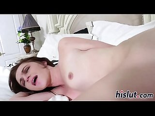 Skinny slut takes it hard from behind