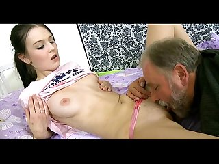 Sweet juvenile gal licked by pold guy