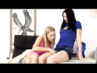 Deep fingering by sapphic erotica sensual lesbian sex scene with dorothee and