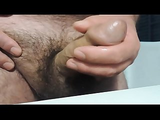 Gushing out thick sperm close up