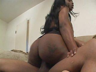 Ebony BBW rides black stud