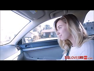 Hot blonde teen stepsister fucked by brother in his car