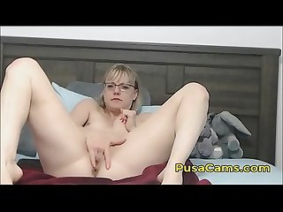 Hot milf with glasses and hairy pussy