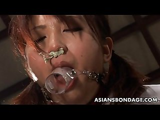 Asian bitch has a rough bdsm cock sucking action