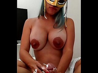 Xania Lombar - Handjob with oil and my bigtits loaded with breast milk for my master and husband..