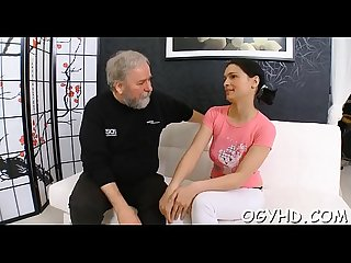 Young girl gives a blow to old wang